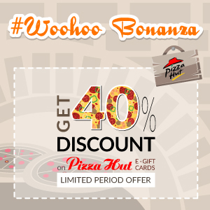 Get 40% discount on pizza hut E- gift voucher at woohoo ...